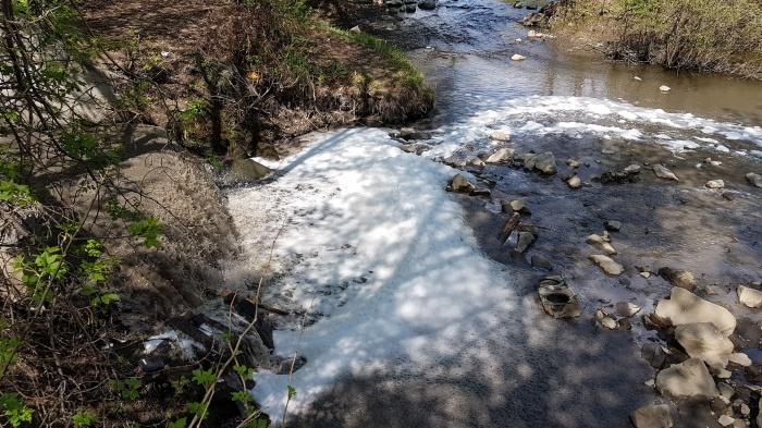 Горожане предположили, что пена образовалась из-за каких-то химикатов, попавших в воду