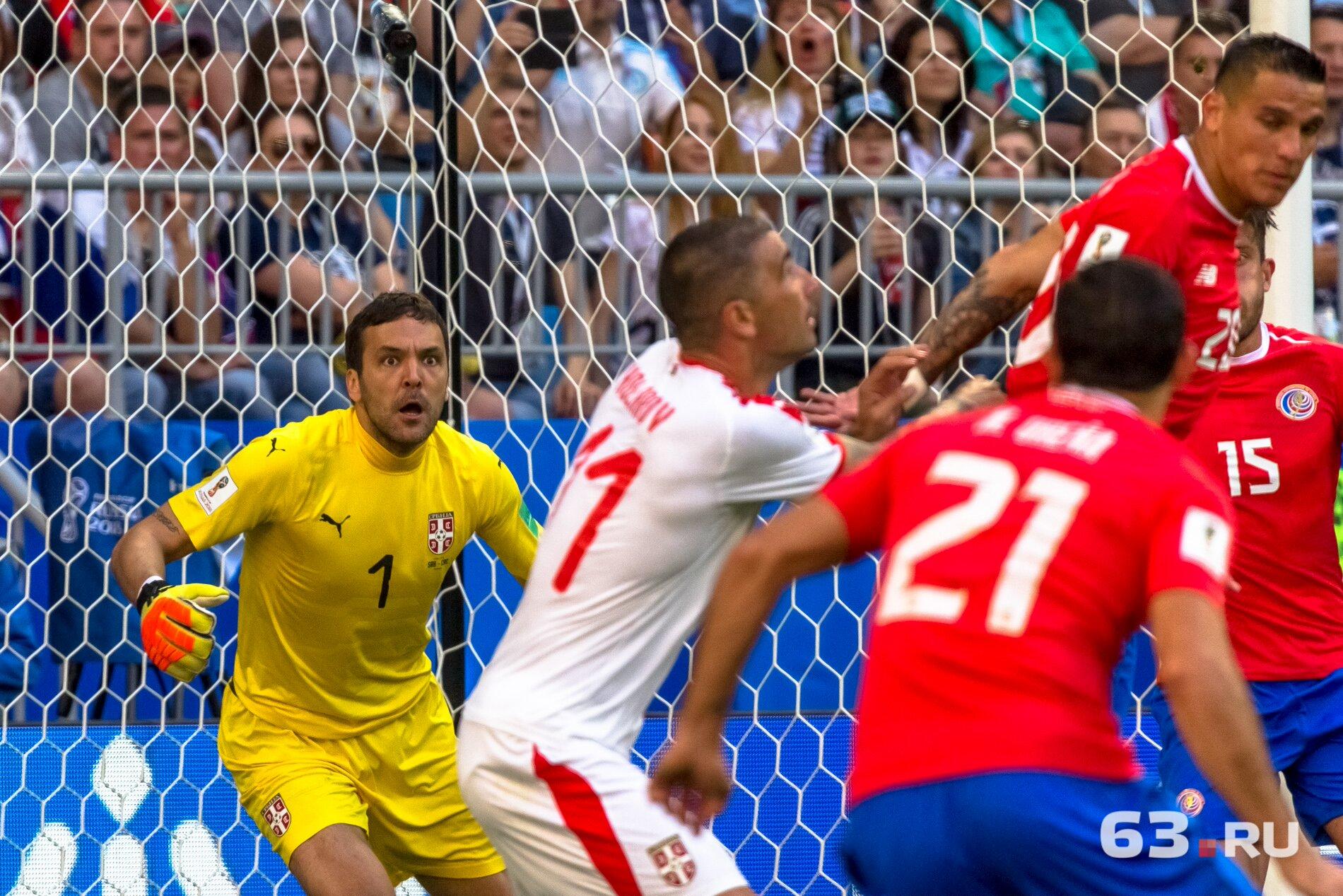 Вратарь сербов Владимир Стойкович — серьезно и очень стойко провел игру