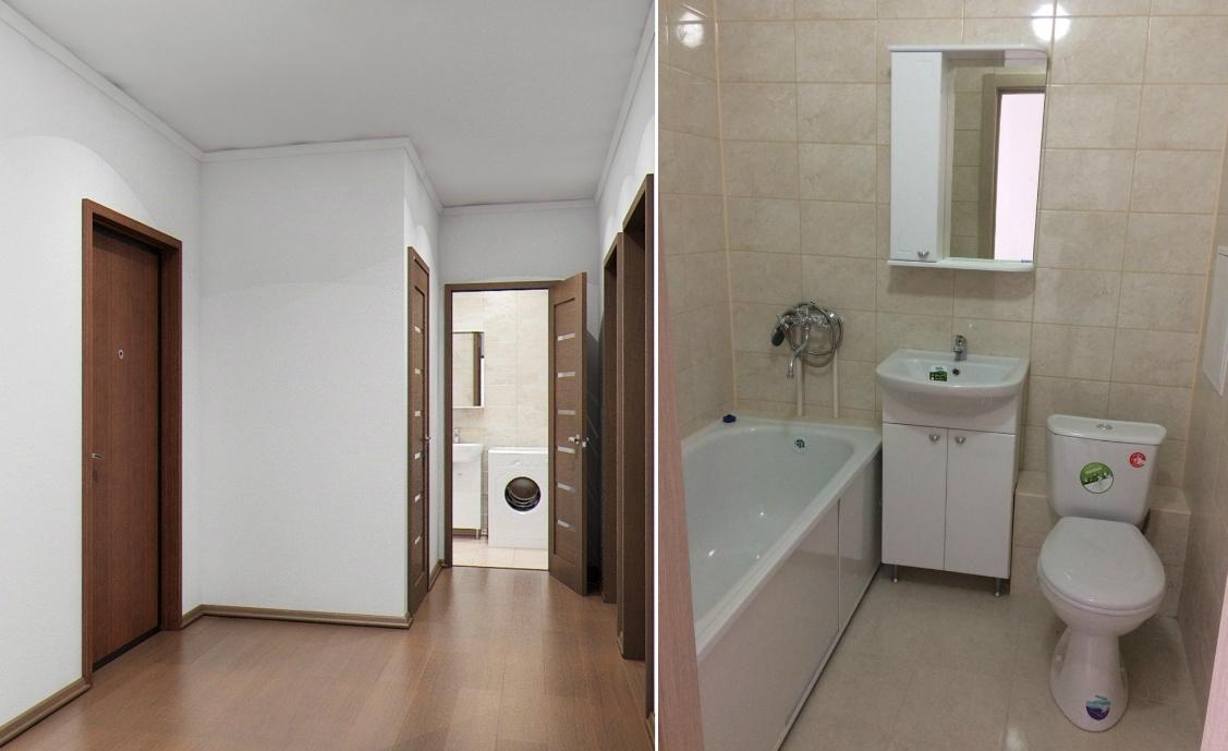 Во всех квартирах чистовая отделка класса комфорт. Вот так, к примеру, оборудован санузел в квартирах ЖК «Рощинский»