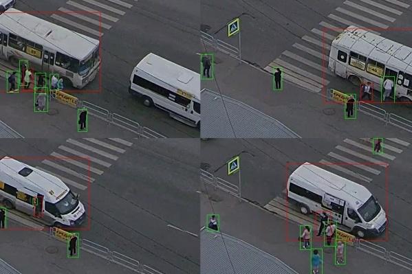 Примеры слайдов, сделанных программой Александра Хлопова с помощью потокового видео с камер «Интерсвязи»: нарушения происходят ежеминутно — в данном случае это остановка на пешеходном переходе