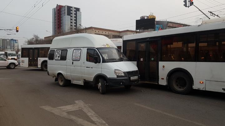 В центре Волгограда маршрутка подбила автобус