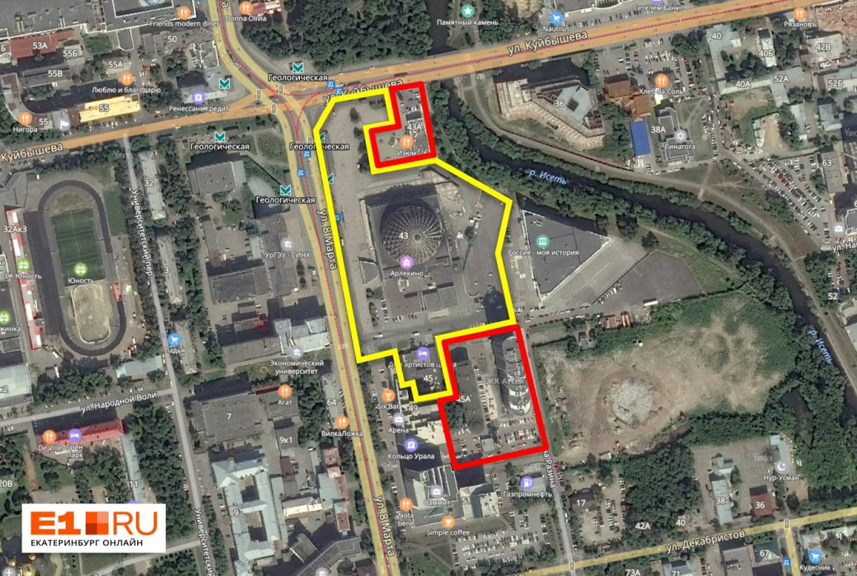 Желтым выделен участок, который принадлежит цирку. На нём расположены само здание цирка, гостиница, парковка и территория у входа на станцию метро. Красным те, что больше не принадлежат госучреждению