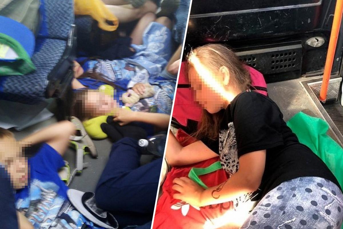 Родители связались с ГИБДД и потребовали остановить автобус после того, как получили от сопровождающих группу эти фото
