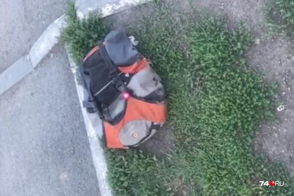 Рюкзак с мигающей красной лампочкой лежал на газоне рядом с проезжей частью