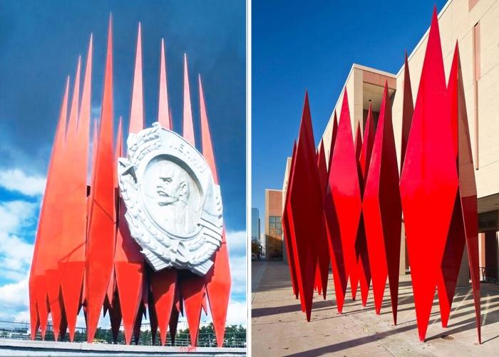 Слева — Краснознамённая группа в Екатеринбурге, справа — скульптура в Анкоридже