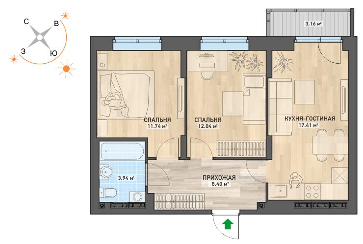 2-комнатная квартира в ЖК «ART. Город-парк» (площадь 56 кв. м), стоимость — от 3 705 000 рублей