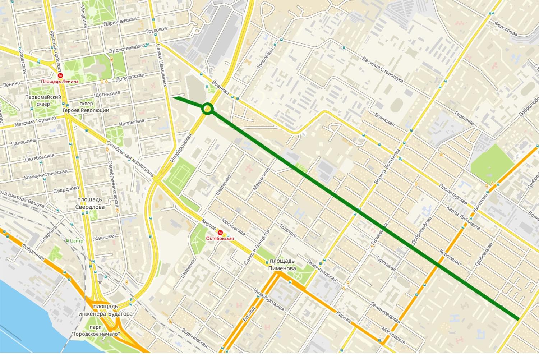 Приблизительная схема расположения магистрали, которая должна стать дублёром улицы Кирова
