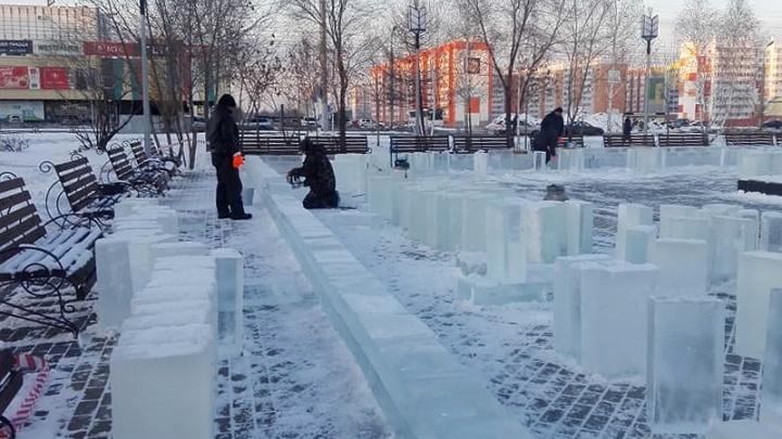 В Заозёрном начали строить ледовый городок