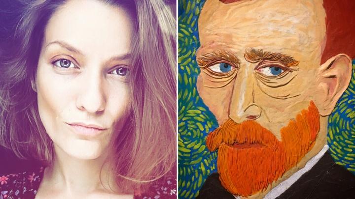 Сибирячка слепила из пластилина портрет Ван Гога: на бороду из оранжевых «червячков» ушло 1,5 дня