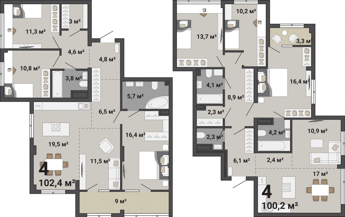 Четырехкомнатные квартиры в «Ньютон Парке» стоят от 7,38 млн рублей