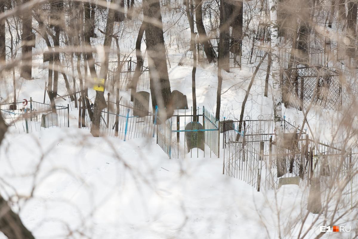 Если идти по пешеходному мосту через Репина, можно увидеть кладбище с высоты