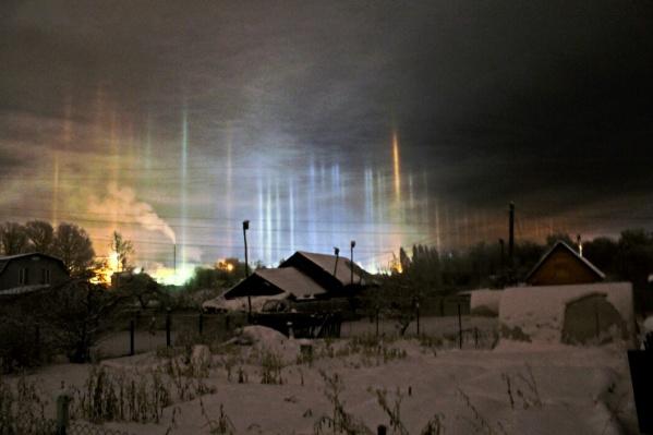 Автор снимка пишет, что застал световой лес по пути домой