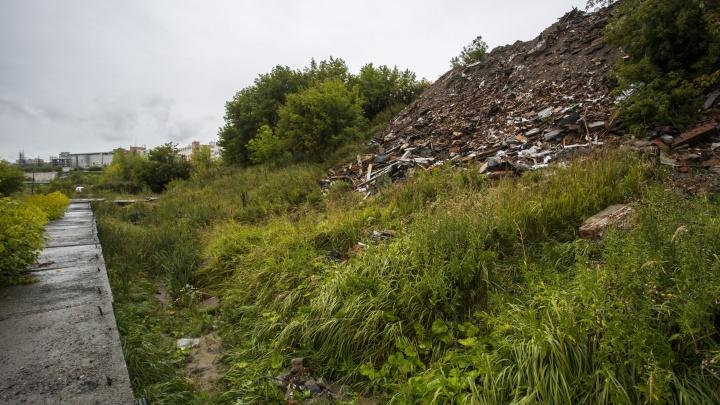 Рядом с озером в Октябрьском районе выросли кучи кирпича и бетона