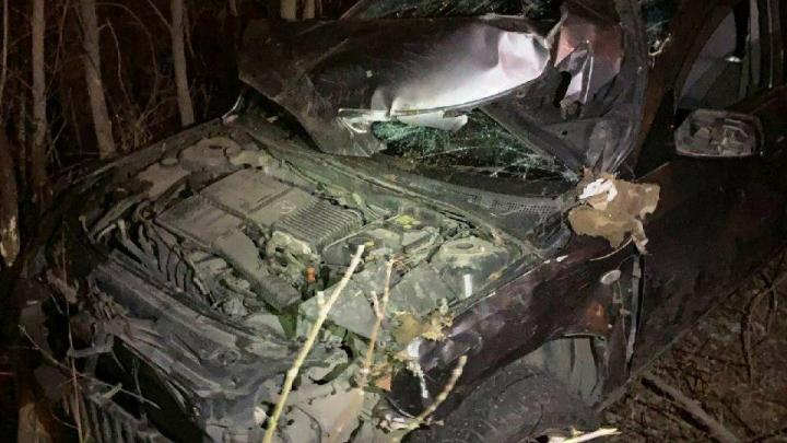 В Октябрьском районе иномарка с пассажирами улетела в кювет