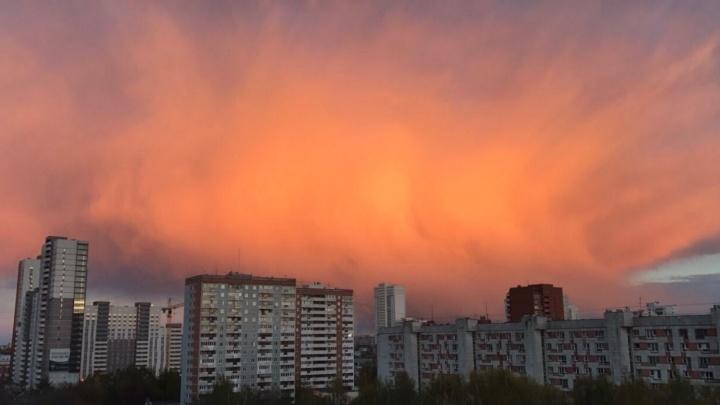 """""""Сегодня пожар не в лесах, а на небесах"""": екатеринбуржцы делятся снимками алого заката"""