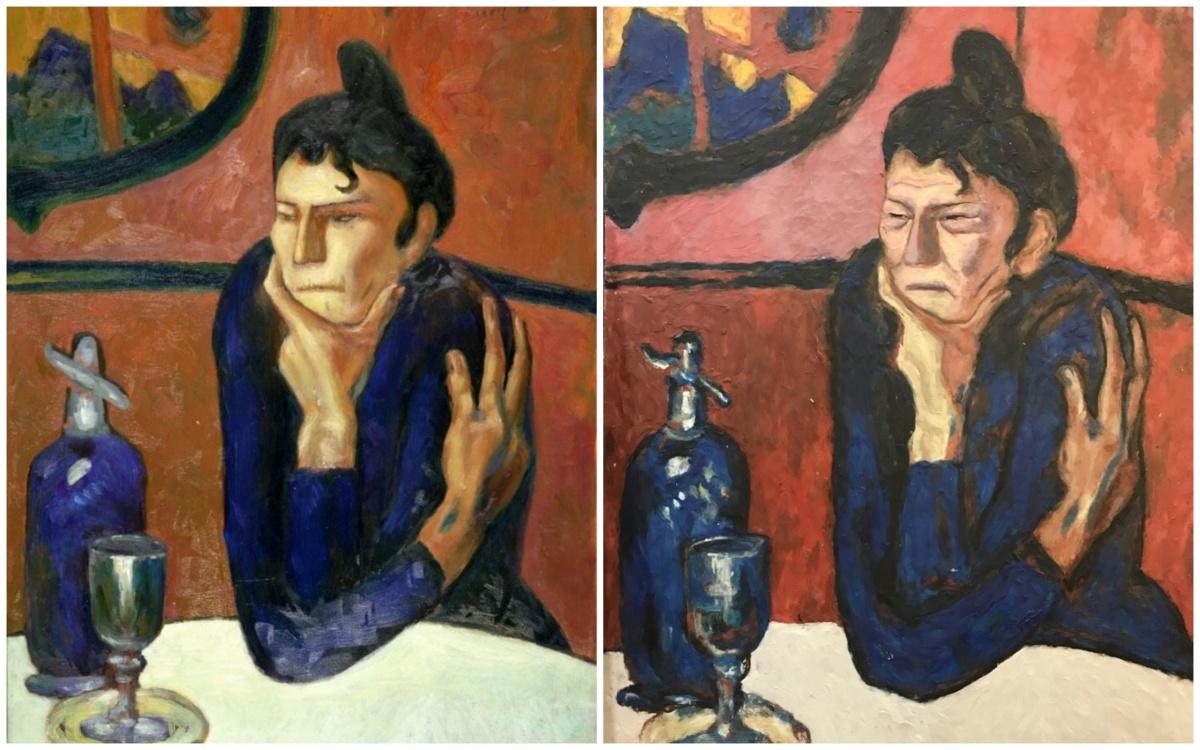 «Любительница абсента» Пикассо. Слева — оригинал, справа — состаренная копия