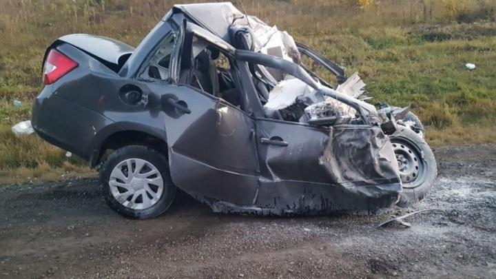 Момент страшного ДТП на башкирской трассе снял видеорегистратор