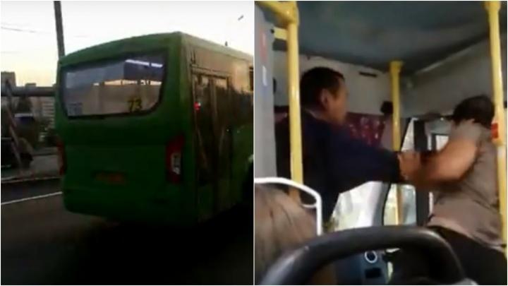 Битва маршрутчиков: в Тюмени два водителя устроили разборки в автобусе
