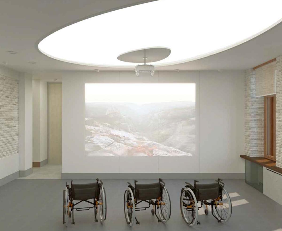 Театральная студия, в которой поставят проектор, чтобы комнату можно было использовать как мини-кинозал