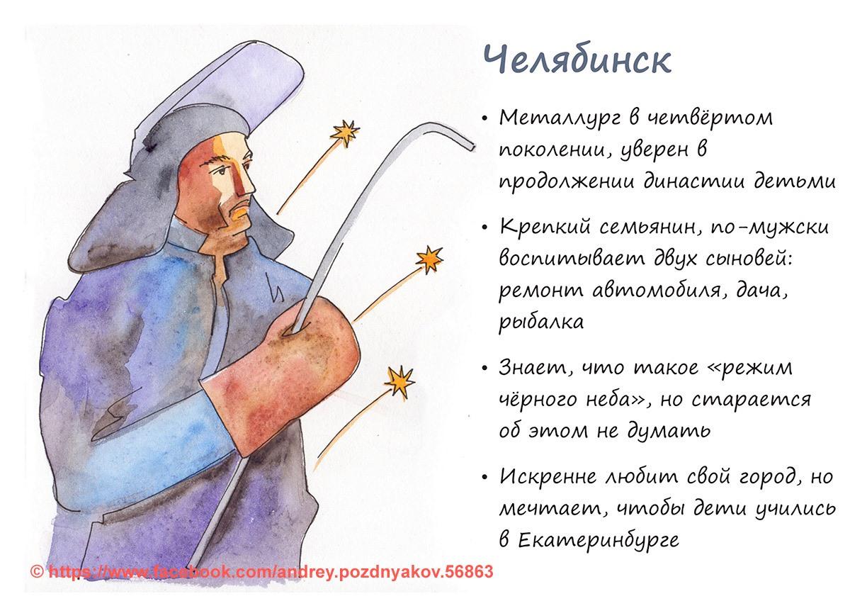 Челябинск изобразили в виде профессионального металлурга, который мечтает отправить детей на учёбу в Екатеринбург