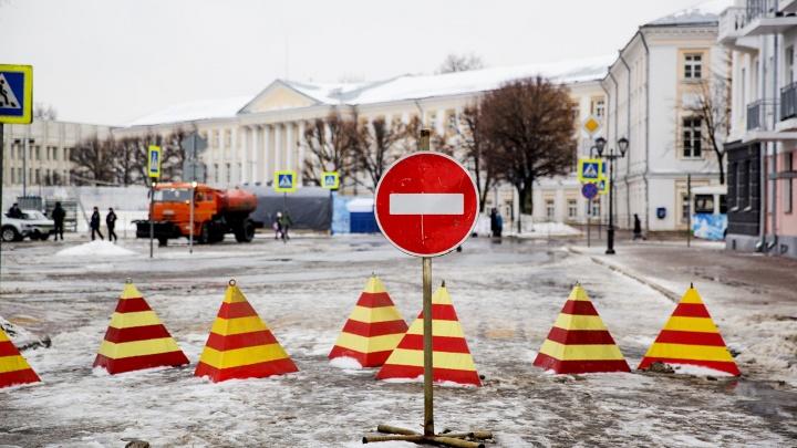 В новогодние праздники перекроют центр Ярославля: схемы
