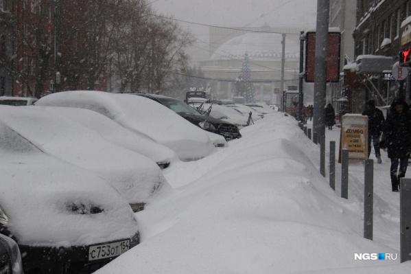 Второй день подряд в Новосибирске сильные метели