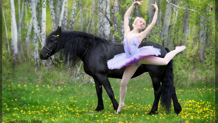 Омский фотограф сняла балерину, выполняющую элементы верхом на лошади