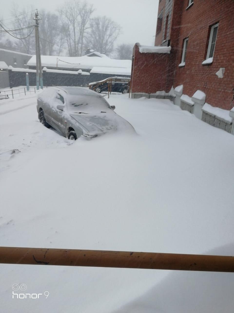 Двор на улице Объединения, 12 утопает в снегу