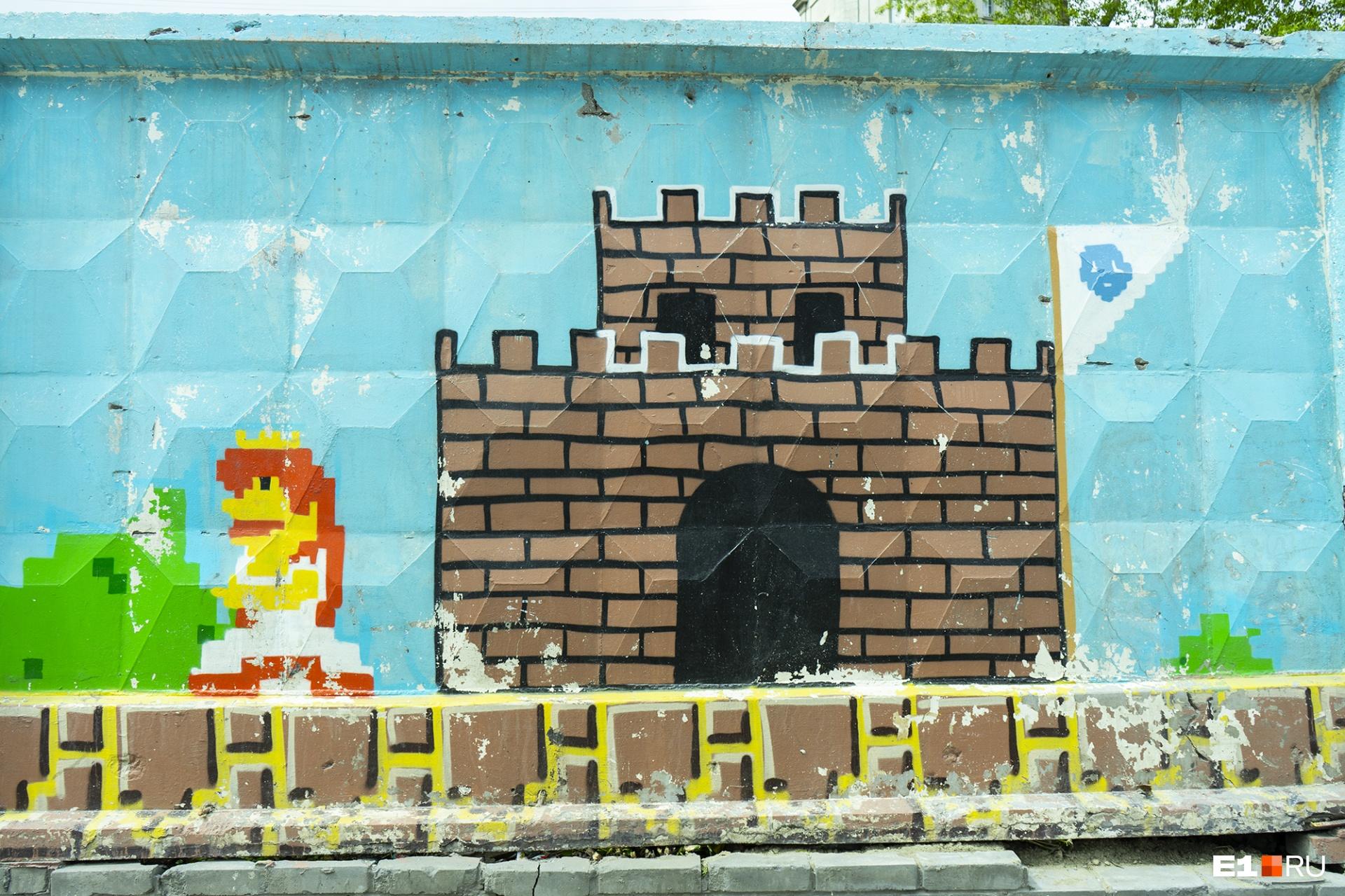 Скучную стенку разрисовывали всем городом: художникам помогали волонтеры и прохожие. По кирпичику, по пикселю Супер Марио появлялся на стене