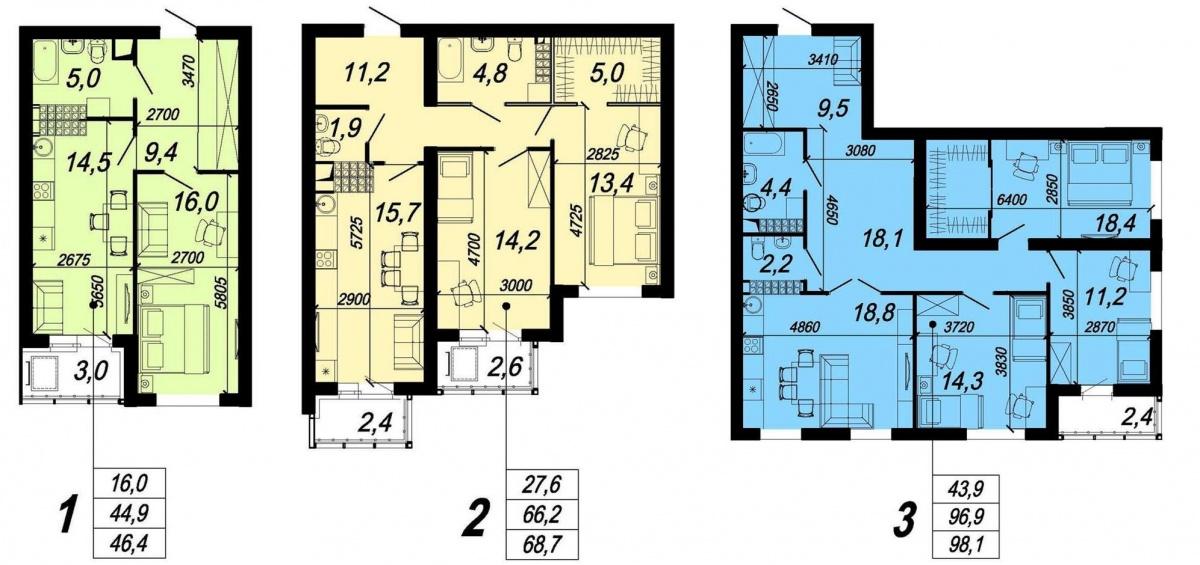 В строящихся секциях ЖК можно выбрать одно-, двух- или трехкомнатную квартиру