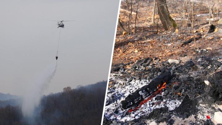Тушили с воздуха: публикуем видео работы вертолета МЧС в Самарской области