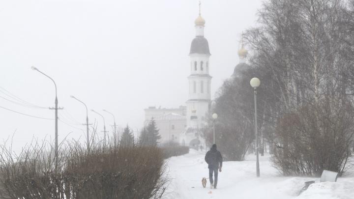 Весна со вкусом снежной бури: смотрим, как Архангельск вновь облачается в белое