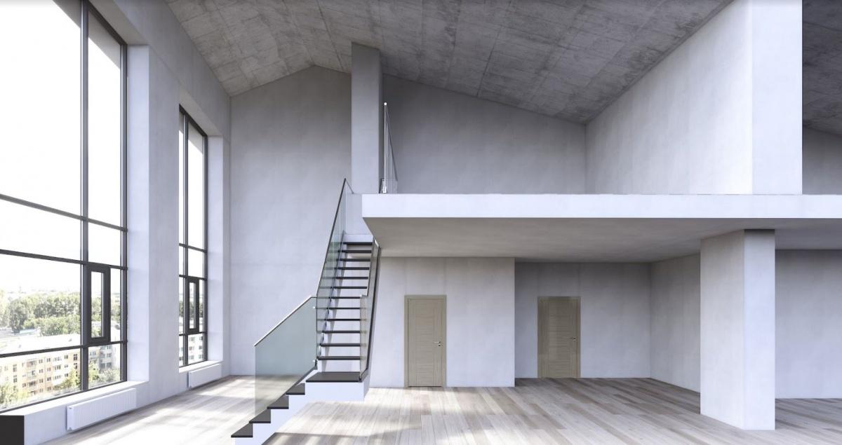 Ещё одна особенность конструкции дома — квартиры с антресольным этажом.