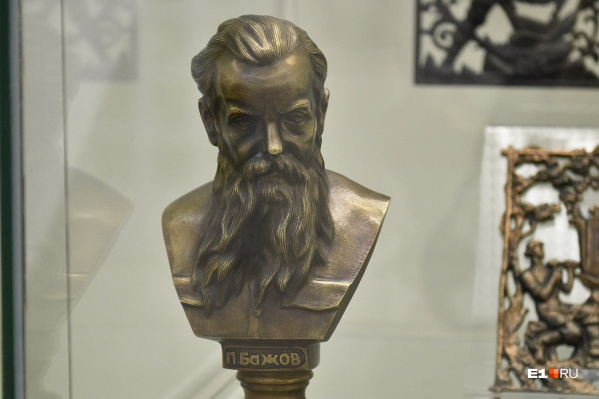 Бюст Павла Петровича Бажова — один из экспонатов выставки