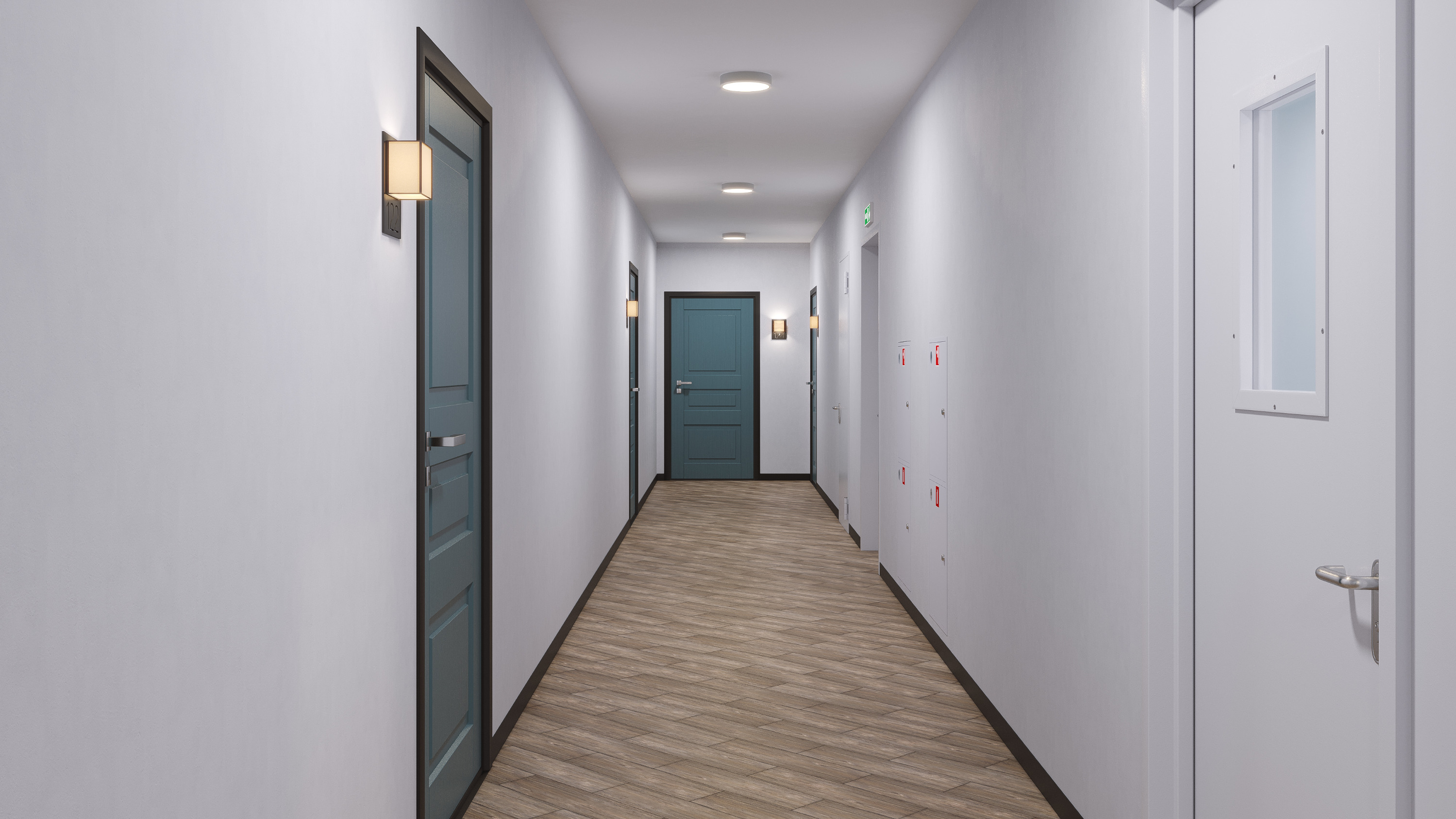 Межквартирные коридоры широкие и светлые