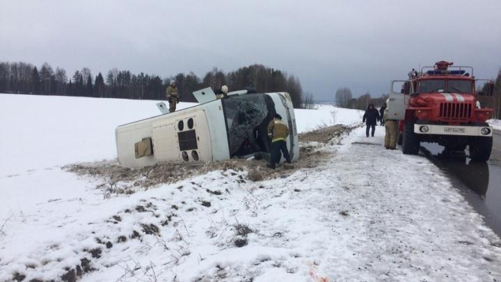 На трассе Кукуштан — Чайковский перевернулся рейсовый автобус с 17 пассажирами
