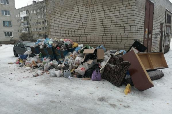 Это фото из Котласа опубликовали активисты движения «Поморье — не помойка!» еще 6 января. Они назвали ситуацию в городе «мусорным коллапсом». С тех пор она не улучшилась — регоператор до сих не заключил ни одного договора в Котласе с перевозчиками отходов