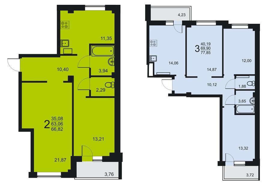 В доме есть двух- и трёхкомнатные квартиры с 2 лоджиями, которые подойдут семьям с детьми