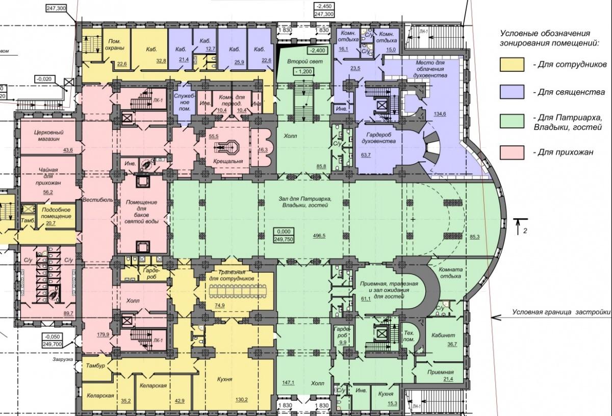Для высшего духовенства в храме будет отдельный холл и отдельный вход