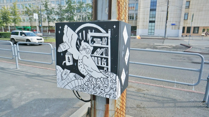 Челябинские урбанисты нарисовали мудрую сову возле ЮУрГУ