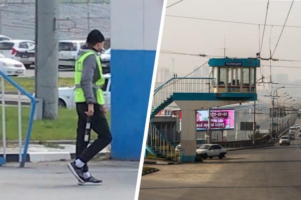 Одетый не по форме автоинспектор встретился водителю на Коммунальном мосту