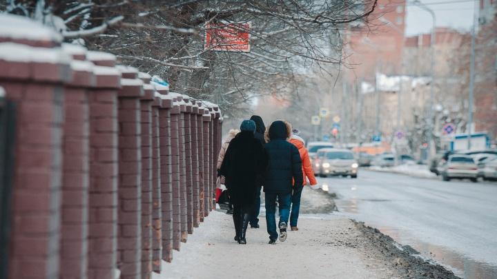 На Тюмень идет потепление и снегопад