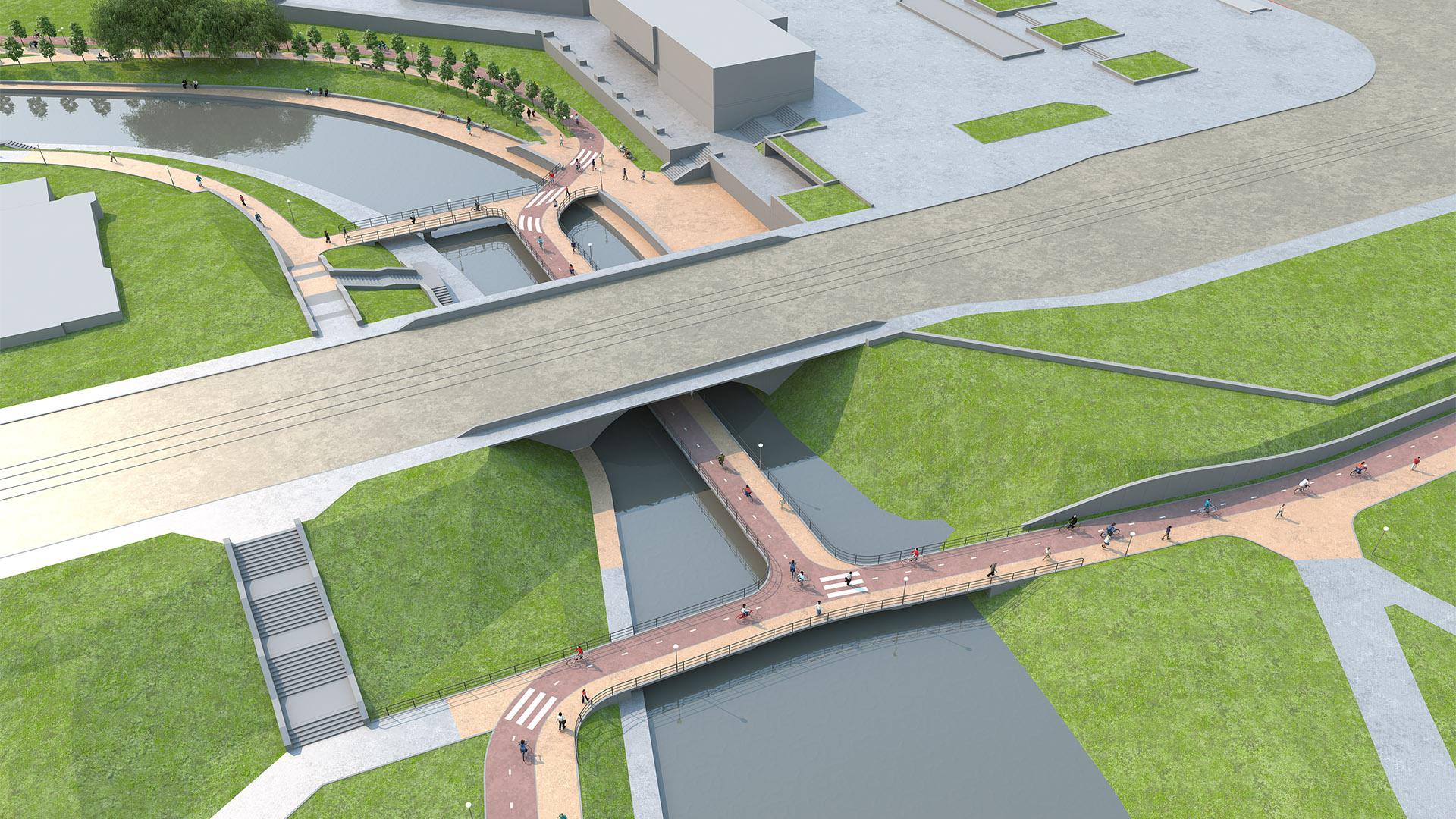Велопешеходный мост под мостом на Куйбышева позволяет соединить все четыре угла перекрестка