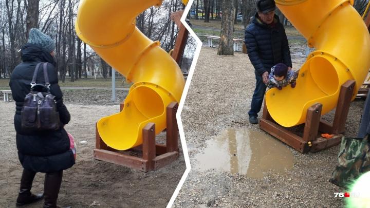 «Всё сделано на отстань»: вместо экогорки в ярославском парке получилась аквагорка