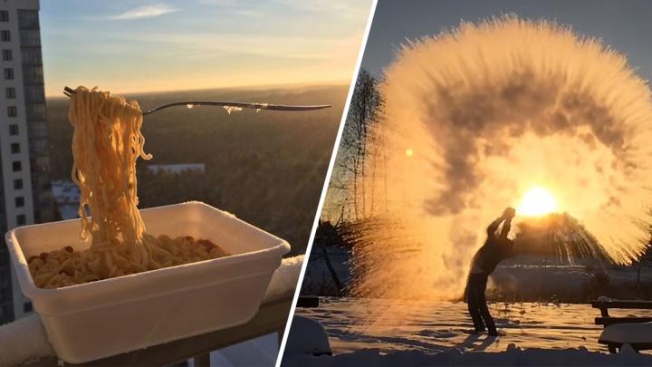 Заморозить лапшу и ресницы: пять странных вещей, которые можно сделать в морозы
