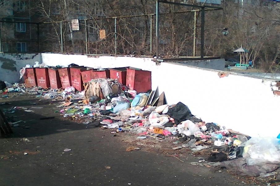 Так уже почти два месяца выглядит контейнерная площадка у дома № 308 по проспекту Победы