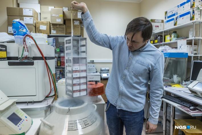 Так хранятся в жидком азоте культуры опухолевых клеток. Это пробирки с замороженной взвесью. Клетки размораживают и высаживают на плашки в питательную среду. И через неделю на них уже можно проводить эксперименты. Ученые берут их из мирового банка, который содержит унифицированные клетки, — это помогает в случае необходимости повторить эксперимент коллег