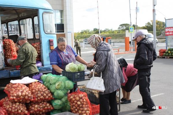 Первыми покупать овощи на ярмарку пришли пенсионеры