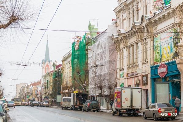 Фасады в центре Самары частично отреставрировали во время подготовки к приему гостей чемпионата мира по футболу