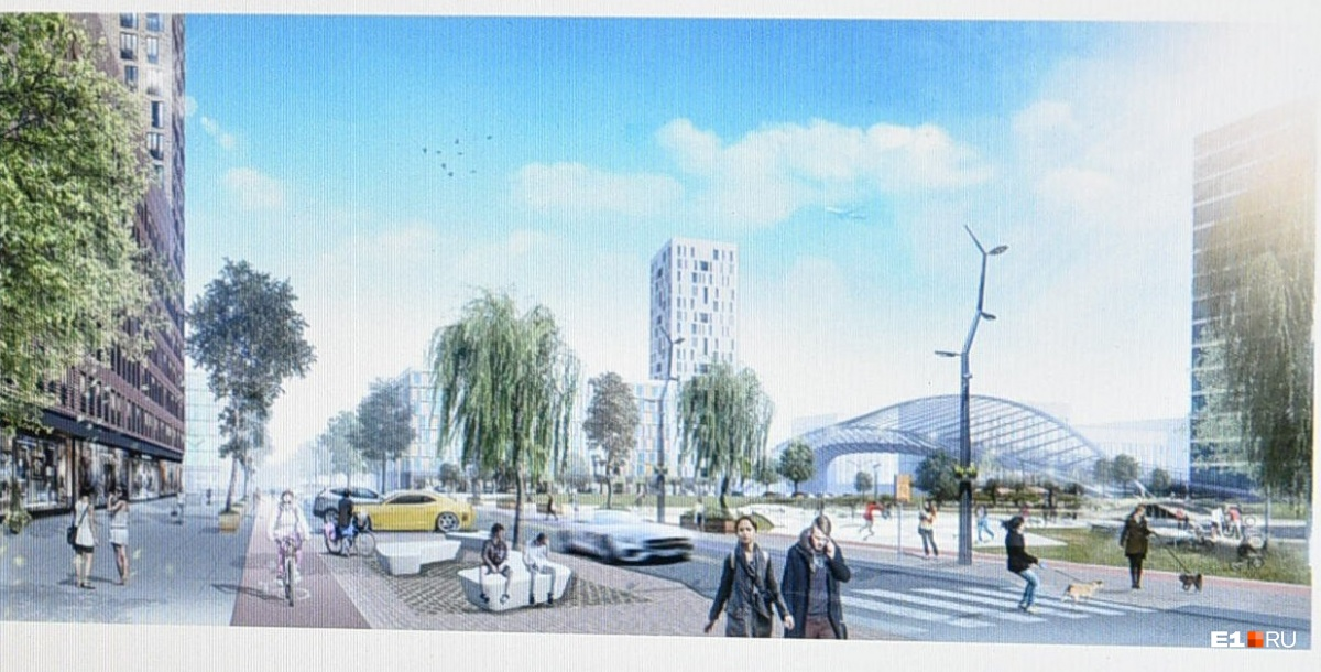 Первый эскиз одного из ракурсов обновленного района —с многоэтажкой и зоопарком